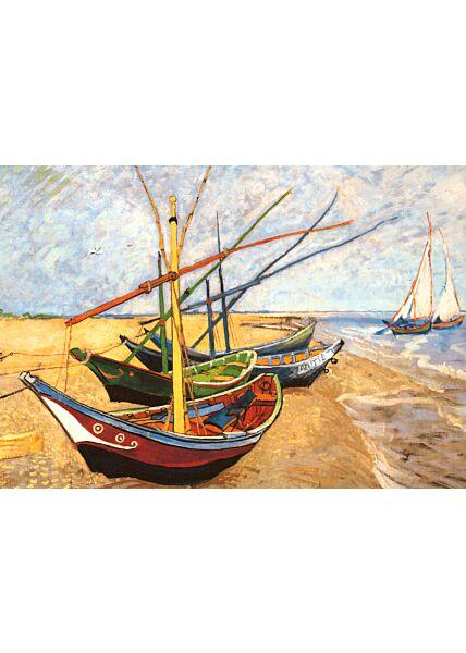 Kunstkarte Vincent van Gogh - Fischerboote am Strand von Saintes-Maries