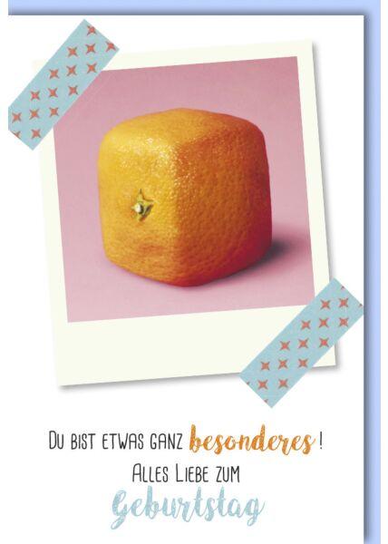 Geburtstagskarte lustig Quadratische Orange