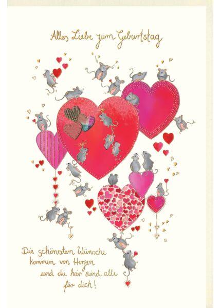 Glückwunschkarte Geburtstag Die schönsten Wünsche kommen vom Herzen