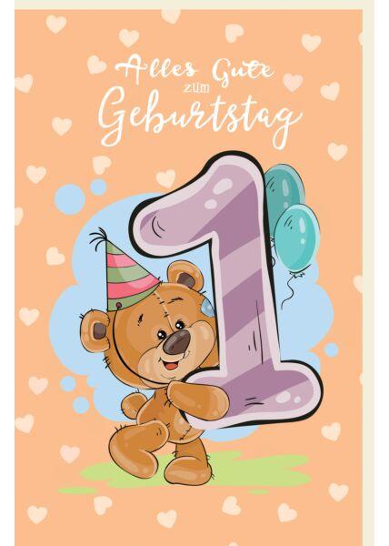 Geburtstagskarte für Kinder Teddybär mit Partyhut sowie Luftballons zum 1 Geburtstag
