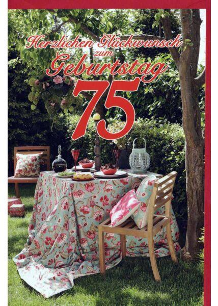 Geburtstagskarte 75 Gebrutstag Land Natur: Gartentisch