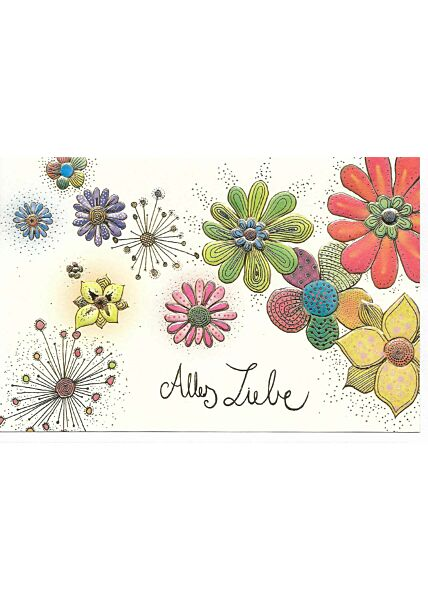 Grußkarte alles Liebe. Blumen