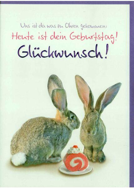 Geburtstagskarte Hasen: Uns ist was zu Ohren gekommen