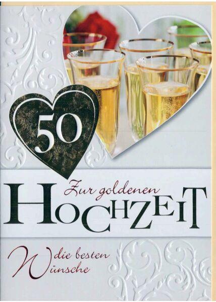 Glückwunschkarte goldene Hochzeit: Goldfolie und Prägung