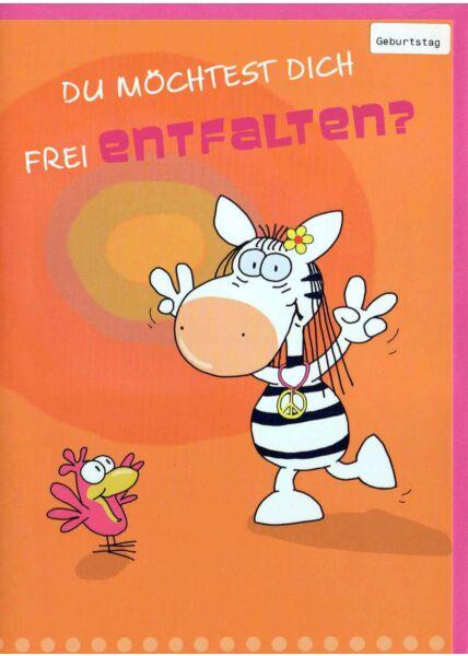 Geburstagskarte lustig mit Innentext: tanzendes Zebra