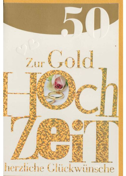 Glückwunschkarte goldene Hochzeit Goldfolie hochwertig