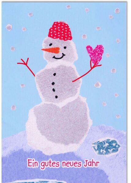 Neujahrskarte liebevoll Schneemann