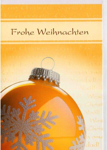 Weihnachtskarte klassisch Weihnachtskugel gelb