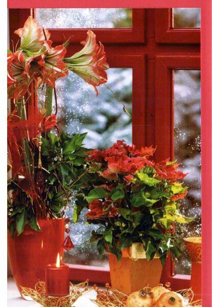 Weihnachtskarte ohne Text klassisch Blick aus Fenster