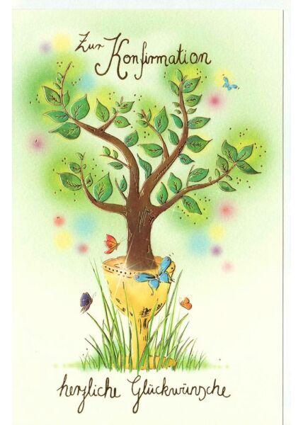 Premium Karte Konfirmation Baum Glückwünsche