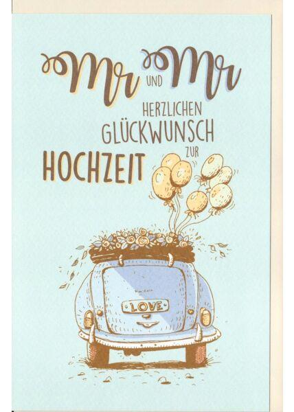 Hochzeitskarte Offenes Cabriolet mit Blumen und Luftballons, Naturkarton