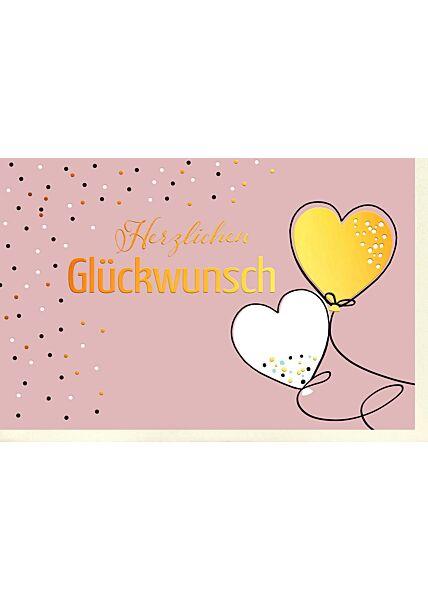 Geburtstagskarte Herzluftballons und Punkte, mit Goldfolie