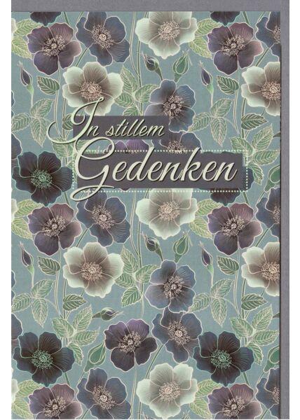 Trauerkarte Blumen und Blätter In stillem Gedenken