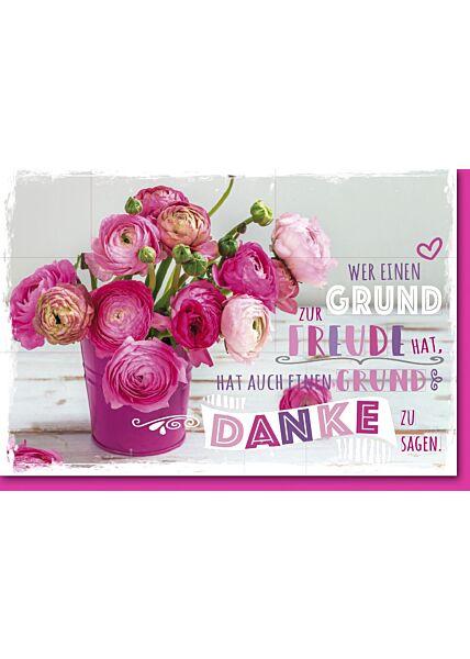 Danksagungskarte Ranunkeln im pinken Blumeneimer