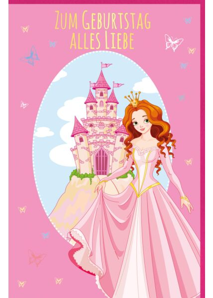 Kindergeburtstagskarte pink Prinzessin Schloss