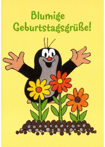 Postkarte für Kinder Der kleine Maulwurf Blumige Geburtstagsgrüße