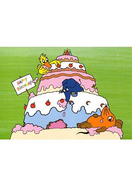 Maus-Postkarte Geburtstag Torte