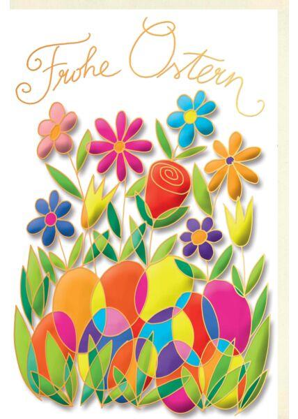 Osterkarte Naturkarton hochwertig Eier Blumen