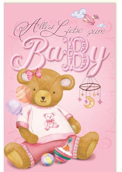 Glückwunschkarten Geburt Mädchen Teddy rosa Alles Liebe zum Baby