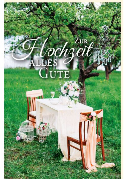 Hochzeitskarte Bild Tisch Stuhl Wiese