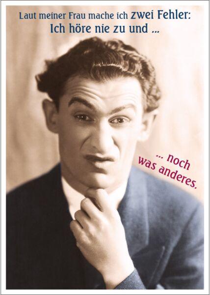 Postkarte Spruch witzig Laut meiner Frau mache ich zwei Fehler