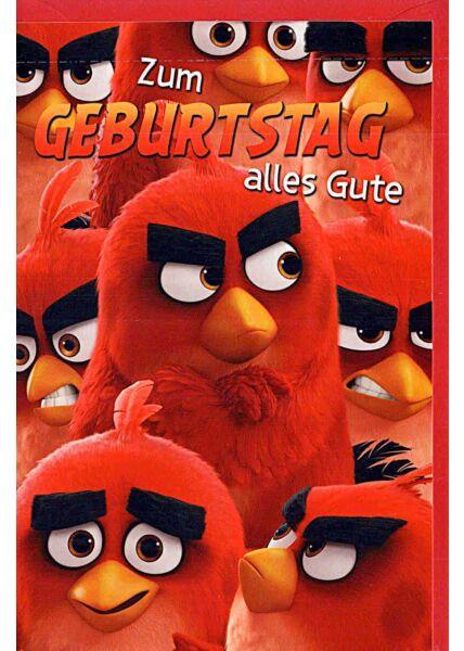 Kindergeburtstagskarte Angry Birds, sechs Vögel, rot