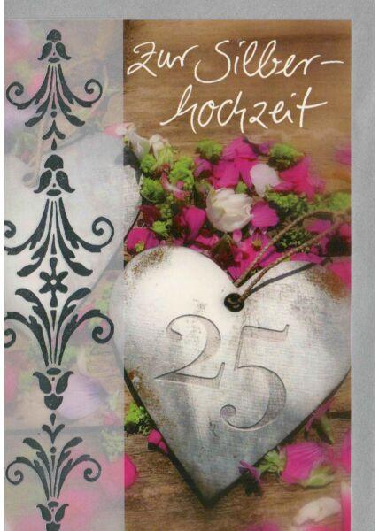 Glückwunschkarte Silberhochzeit Herz mit 25