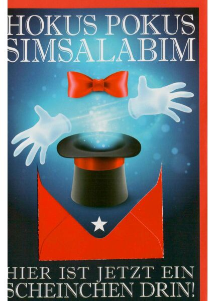 Geburtstagskarte mit Geldfach Hokus Pokus Simsalabim