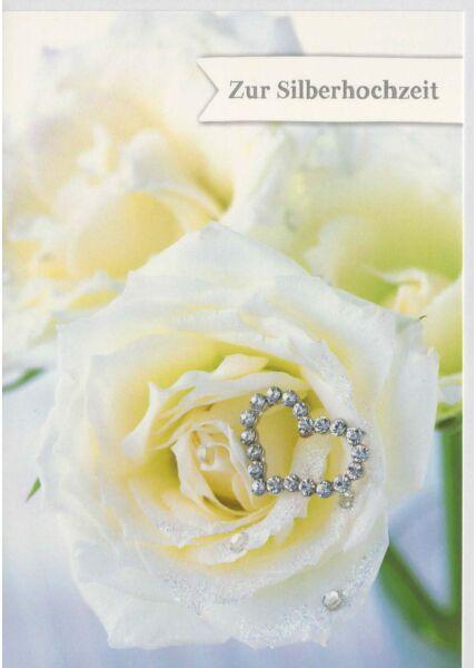 Karte zu Silberhochzeit weiße Rose und Herz