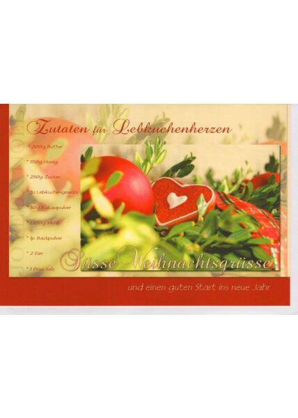 Weihnachtsgrußkarten Weihnachtsgrußkarte mit Zutaten für Lebkuchenherzen