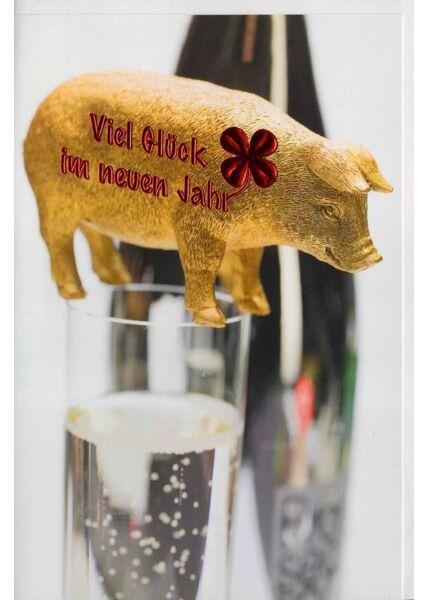 Neujahrskarte Schwein Sektglas