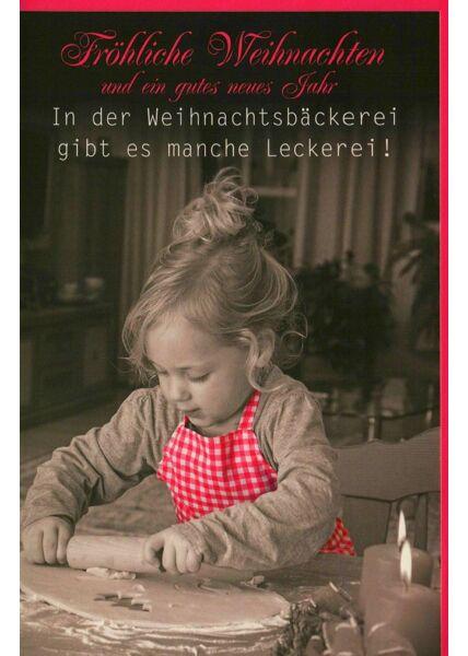 Weihnachtskarte Weihnachtsbäckerei Kind Plätzchen