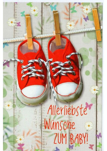 Glückwunschkarte Geburtstag Schuhe rot Wäscheklammer