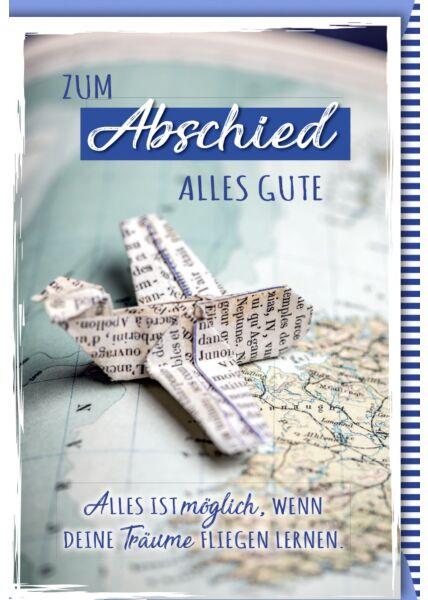 Abschiedskarte Arbeitskollege - Papierflugzeug auf Weltkarte