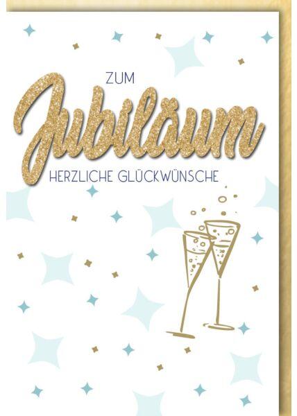 Jubiläumskarteskarte premium - Blaue Sterne