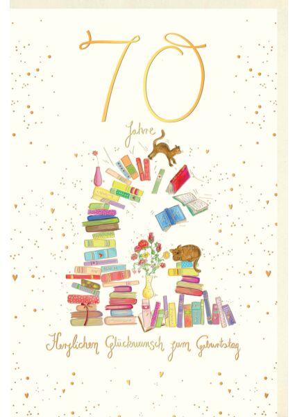 Geburtstagskarte 70 Jahre Bücherstapel, mit Katzen und Blumen in Vasen, Naturkarton, mit Goldfolie und Blindprägung