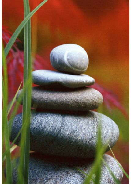 Blumen Postkarte Zen Stones