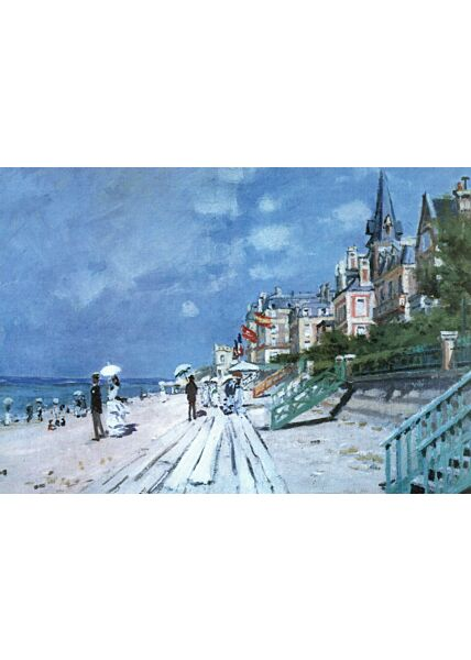 Kunstkarte Claude Monet - Strand in Trouville
