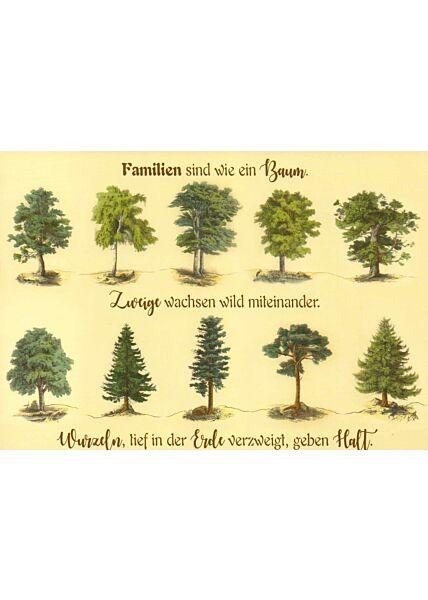 Postkarte Spruch Familien sind wie ein Baum