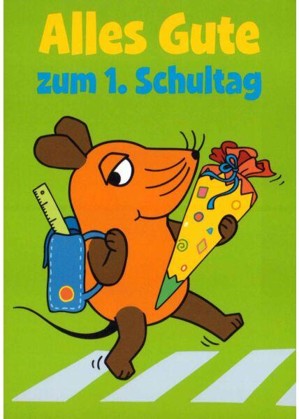 Maus-Postkarte Alles Gute zum 1. Schultag