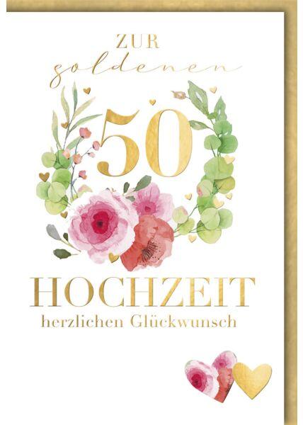 Glückwunschkarte goldene Hochzeit 50 gold premium