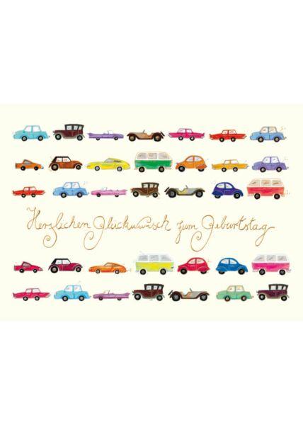 Postkarte Geburtstag Autos Herzlichen Glückwunsch