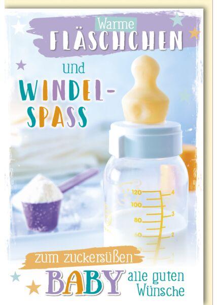 Glückwunschkarte zur Geburt Warme Fläschchen und Windelspass
