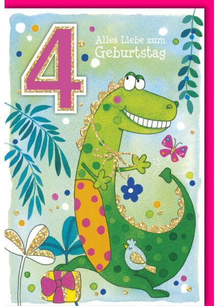 Geburtstagskarte für Kinder 4 Jahre Krokodil mit Geschenk