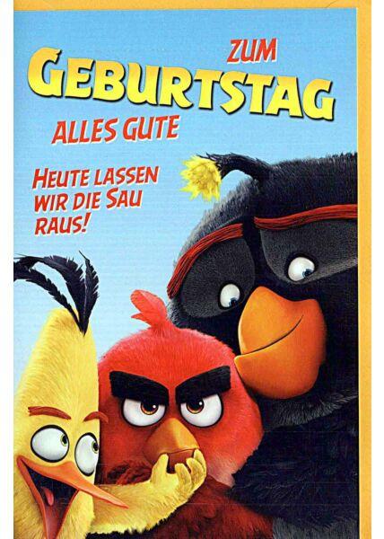 """Geburtstagskarten für Kinder Angry Birds """"heute lassen wir die Sau raus"""""""