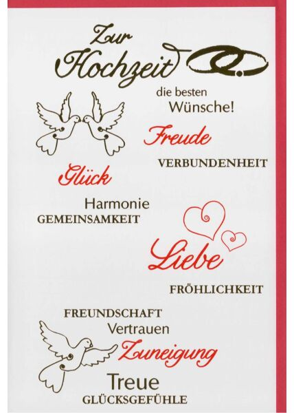 Hochzeitskarte mit Wünschen: Glück, Liebe, Freude, Zuneigung