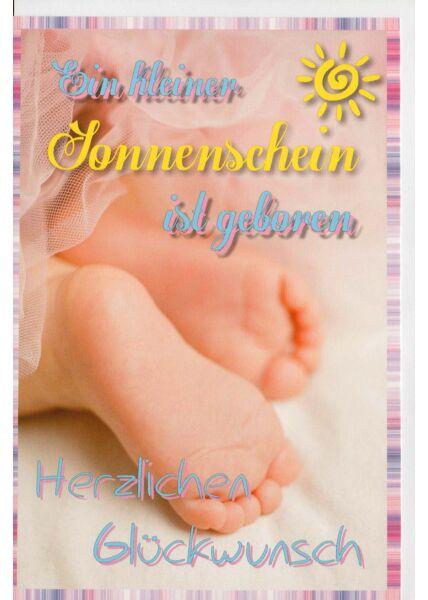 Glückwunschkarte Geburt Kinderfüße Sonnenschein
