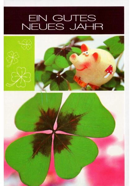 Silvesterkarte Schein Kleeblatt Glück