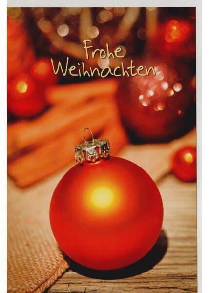 Weihnachtsgrußkarte Kugel rot neutral