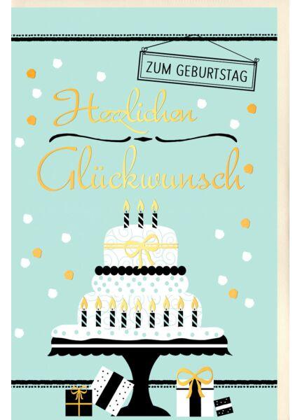 Geburtstagskarte Torte mit Kerzen, Geschenke und Punkte, mit Goldfolie